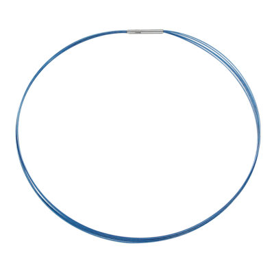FINO Collier, placcato rodio, blu
